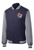09 -  ST270 Sport-Tek Fleece Letterman Jacket - True Navy/Vintage Heather Lincoln Charter School