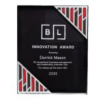 Black Acrylic Plaque with Accent and Mirror Corner Achievement Awards
