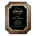Black with Gold Florentine on Notched Corner Genuine Walnut Achievement Awards