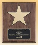 Walnut Stained Piano Finish Plaque with 8 Gold Star Achievement Awards