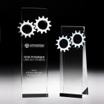 Gear Tower Crystal Award Clear Optical Crystal Awards