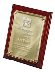 Mahogany Finish Board with Gold Swirl Plate Under Lasered Raised Lucite Employee Awards