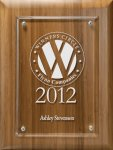 Lasered Lucite on Bamboo Board Employee Awards