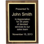 Bevel Solid Walnut Plaque Employee Awards
