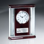 Rosewood Piano Finish Desk Clock Employee Awards