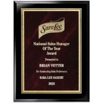 Red Marble Florentine Plate on Ebony Finish Board Employee Awards