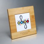 Bamboo Plaque with Digi-Color on White Tile Employee Awards