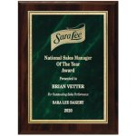 Green Marble Florentine Plate on Walnut Finish Board Employee Awards