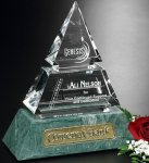Vandalia Pyramid Green Optical Crystal Awards