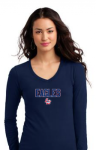 DT5201-District® Juniors The Concert Tee® Long Sleeve V-Neck-New Navy Lincoln Charter School