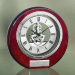 Circle Clock with Exposed Gears in Chrome Mantle Clocks