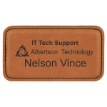 Leatherette Rectangle Name Badge With Magnet -Rawhide Name Badges | Plates