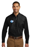 W100 - Long Sleeve Carefree Poplin Shirt - Deep Black NC Society for Respiratory Care