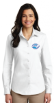 LW100 - Ladies Long Sleeve Carefree Poplin Shirt - White NC Society for Respiratory Care