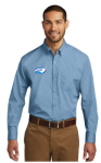 W100 - Long Sleeve Carefree Poplin Shirt - Carolina Blue NC Society for Respiratory Care