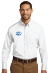 W100 - Long Sleeve Carefree Poplin Shirt - White NC Society for Respiratory Care