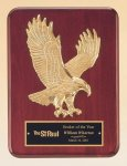 Rosewood Piano Finish Plaque with Gold Eagle Casting Sales Awards