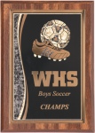 Soccer Walnut Finish Plaque  Sales Awards
