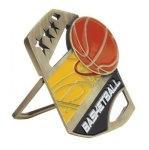 Basketball Color Medal Free Standing Or With Ribbon Star Awards