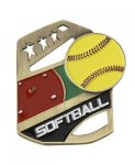 Softball Color Medal Free Standing Or With Ribbon Star Awards