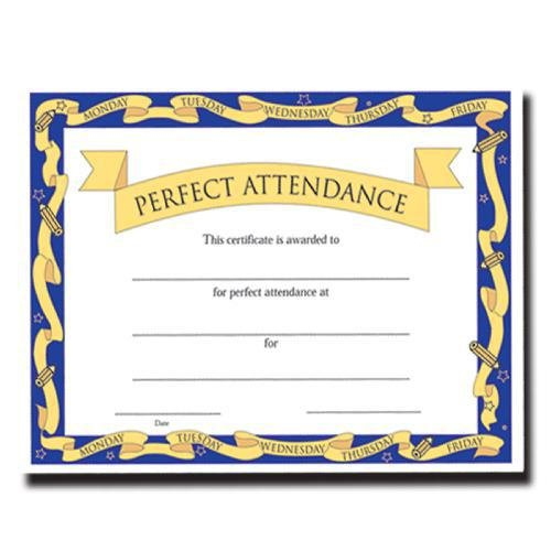 perfect attendance certificate fill in the blank certificates